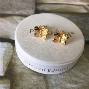 Pandora gold tone open butterfly Earrings